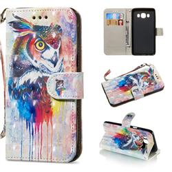 Watercolor Owl 3D Painted Leather Wallet Phone Case for Samsung Galaxy J5 2016 J510