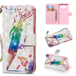 Music Pen 3D Painted Leather Wallet Phone Case for Samsung Galaxy J5 2016 J510