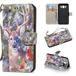 Elk Deer 3D Painted Leather Wallet Phone Case for Samsung Galaxy J5 2016 J510