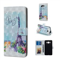 Paris Tower 3D Painted Leather Phone Wallet Case for Samsung Galaxy J5 2016 J510