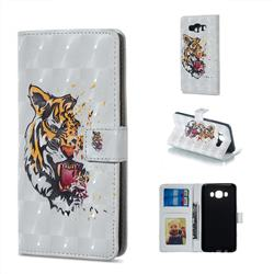 Toothed Tiger 3D Painted Leather Phone Wallet Case for Samsung Galaxy J5 2016 J510
