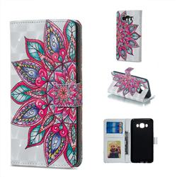 Mandara Flower 3D Painted Leather Phone Wallet Case for Samsung Galaxy J5 2016 J510