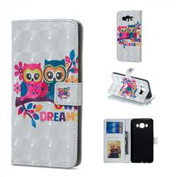 Couple Owl 3D Painted Leather Phone Wallet Case for Samsung Galaxy J5 2016 J510
