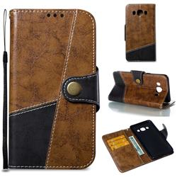 Retro Magnetic Stitching Wallet Flip Cover for Samsung Galaxy J5 2016 J510 - Brown