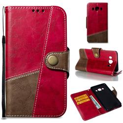 Retro Magnetic Stitching Wallet Flip Cover for Samsung Galaxy J5 2016 J510 - Rose Red
