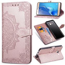 Embossing Imprint Mandala Flower Leather Wallet Case for Samsung Galaxy J5 2016 J510 - Rose Gold