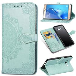 Embossing Imprint Mandala Flower Leather Wallet Case for Samsung Galaxy J5 2016 J510 - Green