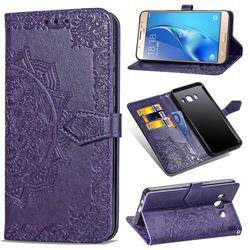 Embossing Imprint Mandala Flower Leather Wallet Case for Samsung Galaxy J5 2016 J510 - Purple