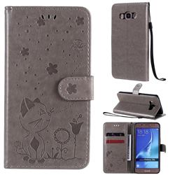 Embossing Bee and Cat Leather Wallet Case for Samsung Galaxy J5 2016 J510 - Gray