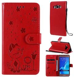 Embossing Bee and Cat Leather Wallet Case for Samsung Galaxy J5 2016 J510 - Red