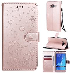 Embossing Bee and Cat Leather Wallet Case for Samsung Galaxy J5 2016 J510 - Rose Gold