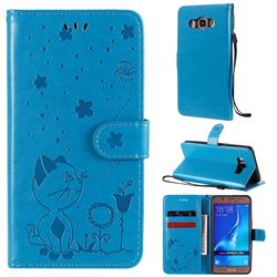 Embossing Bee and Cat Leather Wallet Case for Samsung Galaxy J5 2016 J510 - Blue