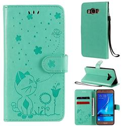 Embossing Bee and Cat Leather Wallet Case for Samsung Galaxy J5 2016 J510 - Green