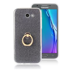 Luxury Soft TPU Glitter Back Ring Cover with 360 Rotate Finger Holder Buckle for Samsung Galaxy J5 2017 US Edition - Black