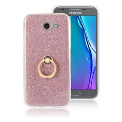 Luxury Soft TPU Glitter Back Ring Cover with 360 Rotate Finger Holder Buckle for Samsung Galaxy J5 2017 US Edition - Pink