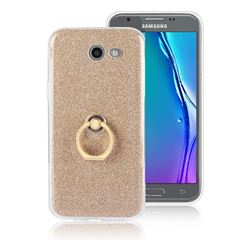 Luxury Soft TPU Glitter Back Ring Cover with 360 Rotate Finger Holder Buckle for Samsung Galaxy J5 2017 US Edition - Golden