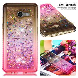Diamond Frame Liquid Glitter Quicksand Sequins Phone Case for Samsung Galaxy J5 2017 US Edition - Gray Pink