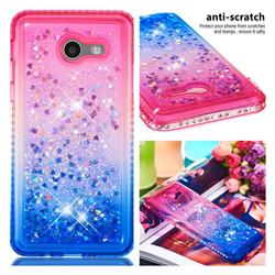 Diamond Frame Liquid Glitter Quicksand Sequins Phone Case for Samsung Galaxy J5 2017 US Edition - Pink Blue