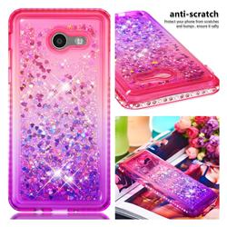 Diamond Frame Liquid Glitter Quicksand Sequins Phone Case for Samsung Galaxy J5 2017 US Edition - Pink Purple