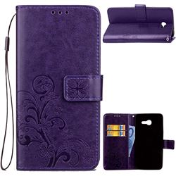Embossing Imprint Four-Leaf Clover Leather Wallet Case for Samsung Galaxy J5 2017 J5 US Edition - Purple