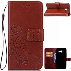 Embossing Imprint Four-Leaf Clover Leather Wallet Case for Samsung Galaxy J5 2017 J5 US Edition - Brown