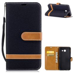 Jeans Cowboy Denim Leather Wallet Case for Samsung Galaxy J5 2017 J5 US Edition - Black