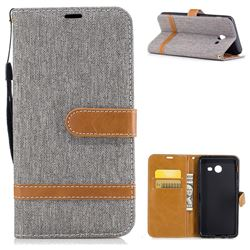 Jeans Cowboy Denim Leather Wallet Case for Samsung Galaxy J5 2017 J5 US Edition - Gray
