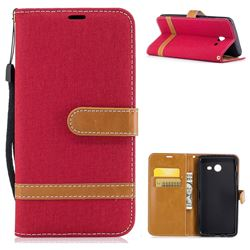 Jeans Cowboy Denim Leather Wallet Case for Samsung Galaxy J5 2017 J5 US Edition - Red