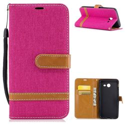 Jeans Cowboy Denim Leather Wallet Case for Samsung Galaxy J5 2017 J5 US Edition - Rose