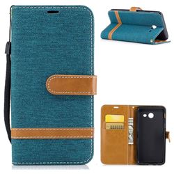 Jeans Cowboy Denim Leather Wallet Case for Samsung Galaxy J5 2017 J5 US Edition - Green