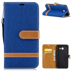 Jeans Cowboy Denim Leather Wallet Case for Samsung Galaxy J5 2017 J5 US Edition - Sapphire
