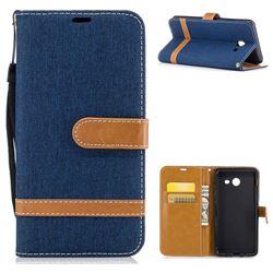 Jeans Cowboy Denim Leather Wallet Case for Samsung Galaxy J5 2017 J5 US Edition - Dark Blue
