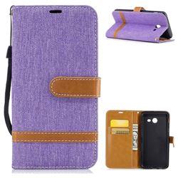 Jeans Cowboy Denim Leather Wallet Case for Samsung Galaxy J5 2017 J5 US Edition - Purple