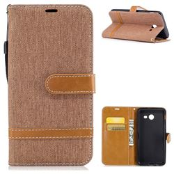 Jeans Cowboy Denim Leather Wallet Case for Samsung Galaxy J5 2017 J5 US Edition - Brown