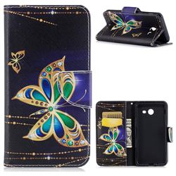 Golden Shining Butterfly Leather Wallet Case for Samsung Galaxy J5 2017 J5 US Edition