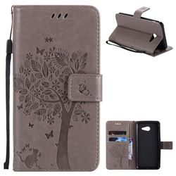 Embossing Butterfly Tree Leather Wallet Case for Samsung Galaxy J5 2017 J5 US Edition - Grey