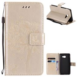 Embossing Butterfly Tree Leather Wallet Case for Samsung Galaxy J5 2017 J5 US Edition - Champagne