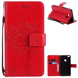 Embossing Butterfly Tree Leather Wallet Case for Samsung Galaxy J5 2017 J5 US Edition - Red