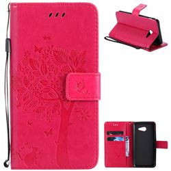 Embossing Butterfly Tree Leather Wallet Case for Samsung Galaxy J5 2017 J5 US Edition - Rose