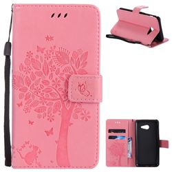 Embossing Butterfly Tree Leather Wallet Case for Samsung Galaxy J5 2017 J5 US Edition - Pink