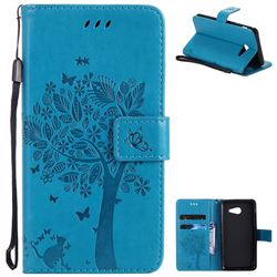 Embossing Butterfly Tree Leather Wallet Case for Samsung Galaxy J5 2017 J5 US Edition - Blue