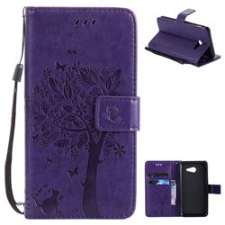 Embossing Butterfly Tree Leather Wallet Case for Samsung Galaxy J5 2017 J5 US Edition - Purple