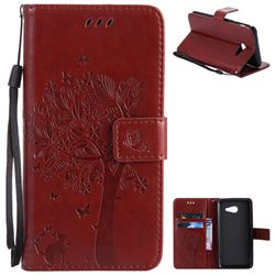 Embossing Butterfly Tree Leather Wallet Case for Samsung Galaxy J5 2017 J5 US Edition - Brown