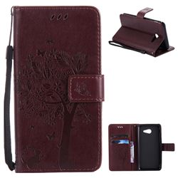 Embossing Butterfly Tree Leather Wallet Case for Samsung Galaxy J5 2017 J5 US Edition - Coffee