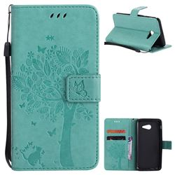 Embossing Butterfly Tree Leather Wallet Case for Samsung Galaxy J5 2017 J5 US Edition - Cyan
