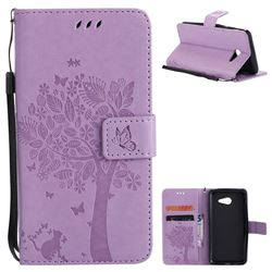 Embossing Butterfly Tree Leather Wallet Case for Samsung Galaxy J5 2017 J5 US Edition - Violet