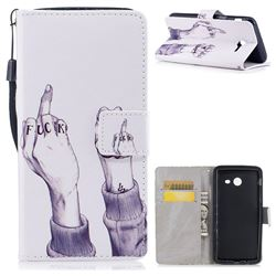 Middle Finger PU Leather Wallet Case for Samsung Galaxy J5 2017 US Edition