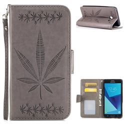 Intricate Embossing Maple Leather Wallet Case for Samsung Galaxy J5 2017 US Edition - Gray