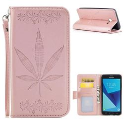 Intricate Embossing Maple Leather Wallet Case for Samsung Galaxy J5 2017 US Edition - Rose Gold