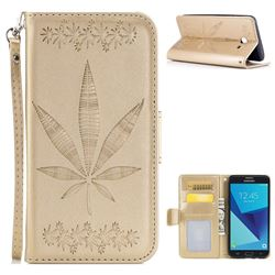 Intricate Embossing Maple Leather Wallet Case for Samsung Galaxy J5 2017 US Edition - Champagne